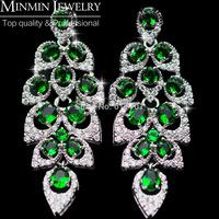 Luxurious Emerald Green Maple Leaf  AAA Zirconia Imitated Gemstone Long Drop Earrings for Women Free Shipping
