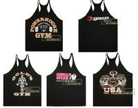 gold gym  Fitness Bodybuilding tank Top hurdle vest Thin straps bodybuilding training vest men's sports Tank Top