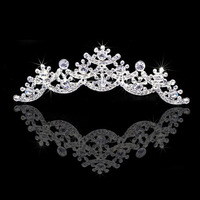 Charm White Gold Plated Shiny Crystal Wedding Tiara Combs Party Show Hairwear Accessary