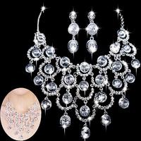 New Woman Silver Plated Rhinestone Crystal Tassel Choker Bridal Wedding Party Necklace Earring Jewelry Set