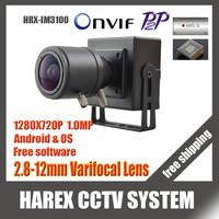 1280 * 720P 1.0MP mini IP Camera ONVIF 2.0 2.8-12mm manual varifocal zoom lens P2P Plug and Play With bracket. Free shipping
