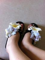 2014 New fashion women sandals hand made rhinestone buckle wedges designer flower sewing flip flops beach summer lady slippers