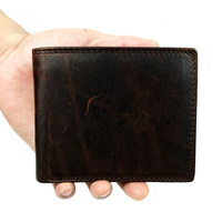 Luxury Brand High Quality Vintage Designer 100% Top Genuine Crazy Horse Cowhide Leather Men Short Wallet Purse With Coin Pocket