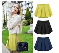 Hot Sale Sweet Women's Sugar Color Culotte Pantskirt Shorts Pleated Skirt Casual 4 Sizes
