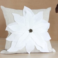 Thickening hemp three-dimensional flowers pillow quality cushion cover 45CM linen  Handmade