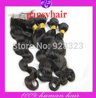 Free Shipping 4pcs/Lot lace closure with bundles peruvian hair Unprocessed  Peruvian virgin hair Body Wave