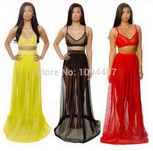 Summer bandage dress 2014 Women White&Black&Red Plus Size S-XXL Midi Dress Long Chiffon Sexy Club Party Two Piece Bodycon Dress(China (Mainland))