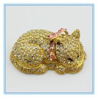 Factory cheaper price diamond cat shape decorative jewelry box-trinket box