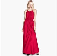 PerfectShow Minimalist Adjustable Waist with Drawstring Sleeveless Big Hem Maxi Dress