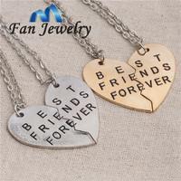 2014 new style broken heart 2 parts best friends forever pendant necklace   DMV281-1
