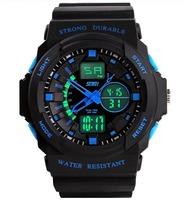 2014 New Men Military Watch Sports Watches Dual Time Digital Quartz LED Chronograph Dive Outdoor Dress Wristwatches 5Colors