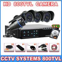 Home 800TVL Mini CCTV System kit 8CH H.264 CCTV DVR with CMOS 800TVL Day Night IR Camera with 1000GB HDD cctv camera system
