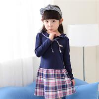 wholesale 2014 new spring autumn girl dress fashion cute long sleeve plaid preppy patchwork princess children dress  C1188