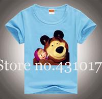 Wholesale summer cartoon t shirt 100% cotton blue color children t shirts 2-10Age Masha and bear clothing