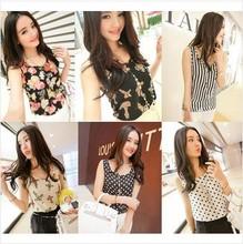 S-XL New style Women camis Casual Chiffon Vest Top tee Tank girl lady Sleeveless T Shirt Blouse top(China (Mainland))