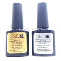 2PCS/SET(1 Foundation Base Coat+1 Top Coat) Soak Off LED & UV Gel Nal Polish Lacquer CND Shellac Nail Polish Set
