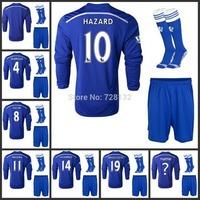 14-15 Chelsea Home long sleeve full set Football Jersey kits + the match sock HAZARD DROGBA DIEGO COSTA OSCAR FABREGAS Thailand