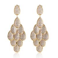 CZ Cubic Zirconia Earrings Luxury Big Drop Pendants Pieces Wedding Deluxe Brass Material Newest Gift Birthday Women - VC Mart
