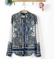 2014 Autumn and Winter New Noble Exotic Totem Print Women's Long Sleeve Blouse Bohemian Style Elegant and Graceful Shirt  #C0907