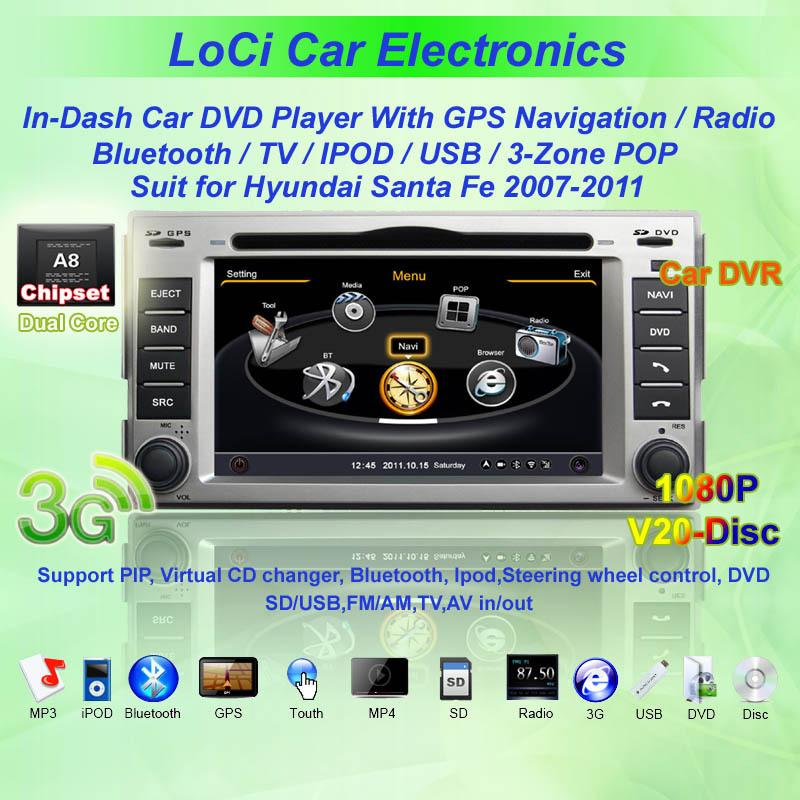 Hyundai santa fe 2007- 2011 GPS Navigation DVD Players system,car multimedia player, Free GPS map+ camera+ Wifi adapter(China (Mainland))