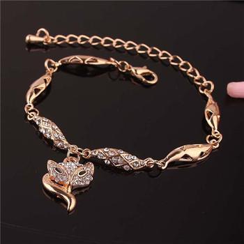 2014 Fox, Peafowl, Heart, Crown, Flower Shaped 14K Золото Plated Bracelets&Anklets ...