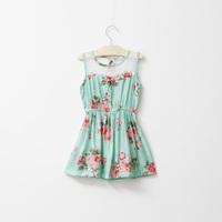 2014 New,girls summer floral dress,children vest dress,lace,beige/blue,6 pcs / lot,wholesale,1550