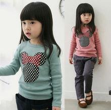 venta caliente niña blusa de mangas largas con o- cuello minnie en frente azul y rosa envío gratis(China (Mainland))