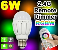 Free shipping LED wireless E27 2.4G 6W RGB LED Bulb Light Lamp Wifi Wireless Color Dimmable Temperature Brightness Adjustable