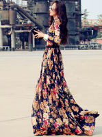 Women autumn lace maxi dresses 2015 women fashion summer long sleeve flower floor-length o-neck casual slim vestidos plus size