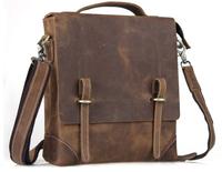 Men Vertical Leather Brown Messenger Bag Cross body Carry On Handbag TIDING 30036