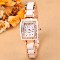 2014 latest newest fashion brand lady's watch Tonneau diamonds quartz ceramic rhinestones gift analog Wristwatches for ladies
