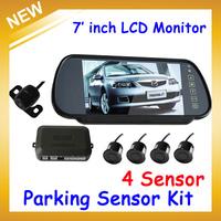Visual reversing radar system 3.5 inch TFT Color LCD car mirror/Car Parking 4 Sensor Radar Rearview mirror 2CH AVIN,FreeShipping