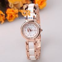 Ladies Ceramic fashion Bracelet diamonds Watches ,2014 New  Round rhinestones Quartz Analog couple Watch, best quality