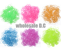 Best Quality Glow In The Dark Rubber Bands Refills Packs Colorful Loom Bands With 300 Bands+12 S-Clips+1pc hook