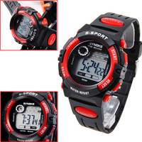 Free Shipping New RED Multifunction Waterproof Child/Boy's Sports Electronic Watches Watch