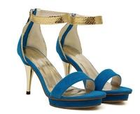 Ladies Fashion Sandals Platform High Heels Shoes Women Pumps Female With Back Zip Blue China Size 39 ML858