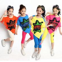 New 2015 Brand Girls Clothing Set Print Tassel Batwing t shirt & Capris Pants 2 Pieces Active Kids Clothes Sets Sports Suit(China (Mainland))
