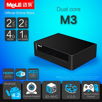 5pcs/lot Cheap price  MeLe MeLe M3 TV Box Android 4.2 AllWinner A20 Dual Core Mini PC 1GB RAM 4GB Flash HDMI RJ45 Wifi HDMI VGA