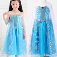 Wholesale Frozen Party Dress Casual Dresses Elsa Costume Summer Dress 2014 Princess Baby Girls clothes Kids Fantasia tcq 014