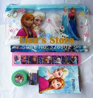 Free shipping 20sets 6 in 1 frozen stationery frozen pencil eraser sharpener ruler set For Kids gift children stationery set