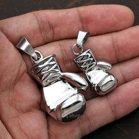 Men's Huge Punk Gothic Rocky Biker Heavy 3D Boxing Glove Pendant 316L Stainless Steel Necklace Silver Chain Factory Wholesale