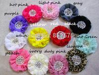 Baby girl Chiffon Flower Pearl Rhinestone Ruffled Chiffon Flower Accessories 40pcs/lot