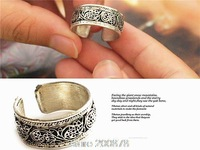 R166  Tibetan Silver Antiqued Vintage Flower Silk Ring,Man`s open ring,Wholesale Tibet Rings