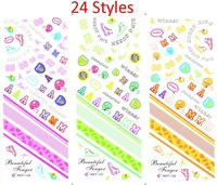 24 Styles Water Nail Stickers Flowers Eyes Poker Dog  New 2014  HOT121-144 Free Shipping