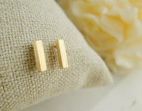 10 PCS- Fashion jewelry 2014 wholesale Silver/gold/rose gold Square classical slim bar Stud Earrings for women -Free shipping
