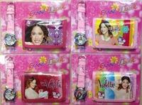 Discount sales 2014 hot  violetta frozen kids  wallet and watch sets children girls boys quartz cartoon gift wrist purse watches