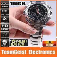 Waterproof 16GB HD 1080P Camera watch with IR night vision Mini WEB Camera DV DVR Camcorder watch Shock Resist Men's WristWatch