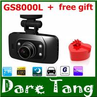 1 Free Gift+Original HD 1080P Car DVR Vehicle Camera Video Recorder Dash Cam G-sensor 2.7 inch HDMI GS8000L Free Shipping! H18B