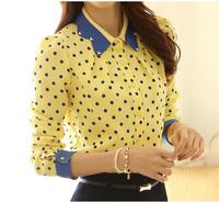 2014 Ladies Spring Slim Peter Pan Diamante Collar Polka Dot Print long-sleeve Chiffon Long-sleeve Blouses Shirt For Women WF-545