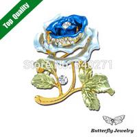 HOT Wholesale Free Shipping,Blue Enamel Big Flower Brooch,Shiny Crystal Red Purple Rose Flower Brooch Pin Wedding Jewelry